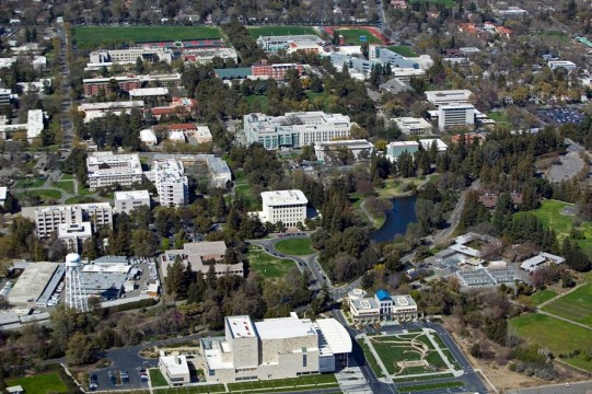 aerial above University of California at Davis campus