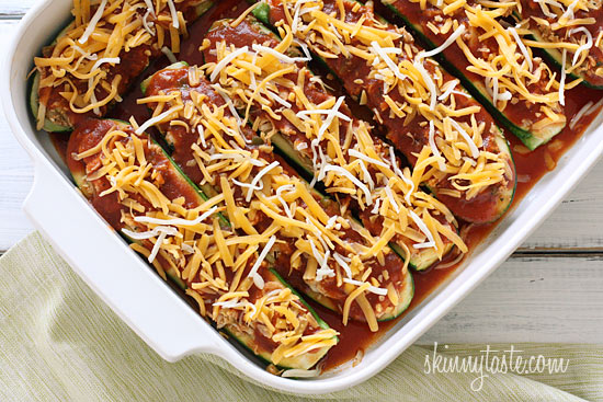 Chicken-Enchilada-Stuffed-Zucchini-before-baking