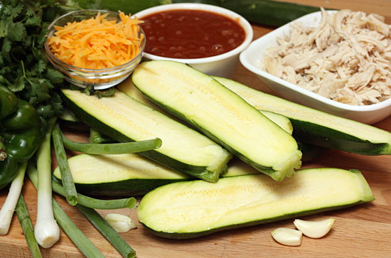 Chicken-Enchilada-Stuffed-Zucchini-ingredients