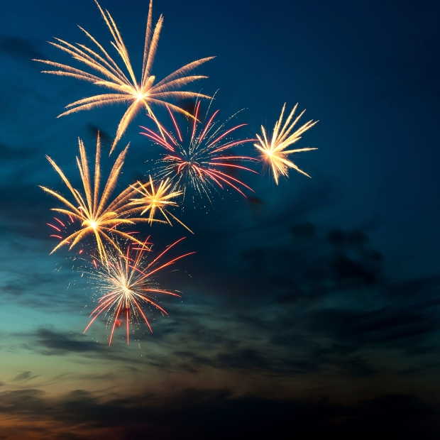 Brightly colorful fireworks and salute of various colors in the night sky